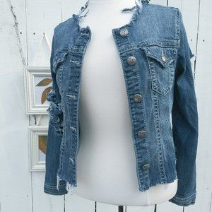 Silver Jeans Highly Distressed Jean Jacket Sz S/P